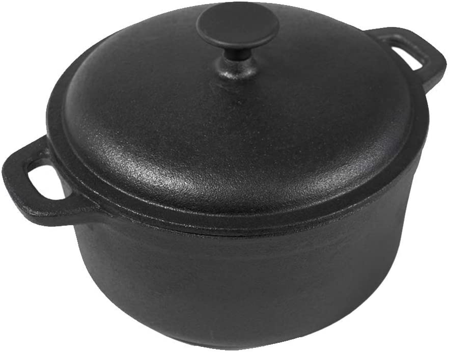 HEWEI Dutch Oven Made of cast Iron 5.5 Liter Saucepan with 11