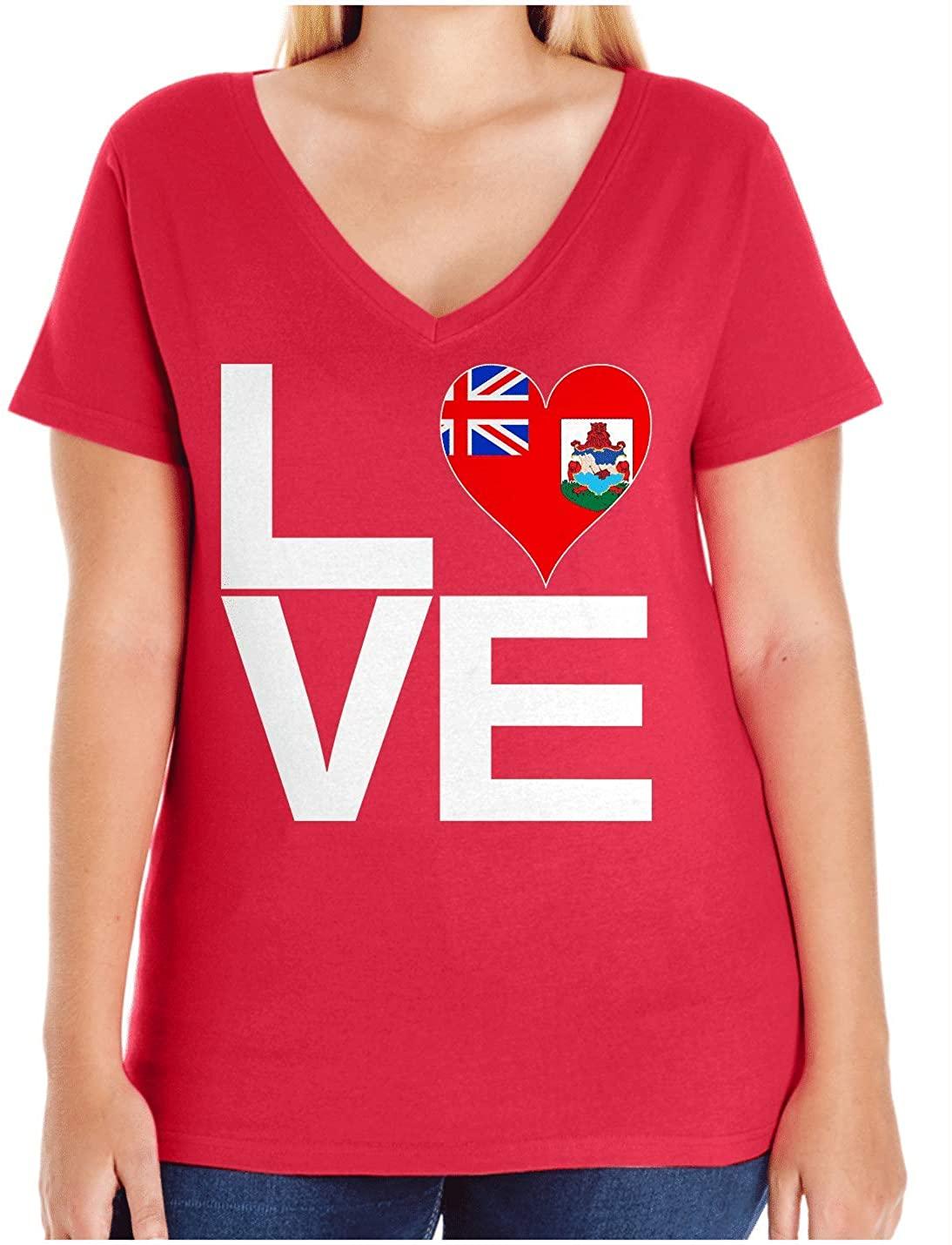 HARD EDGE DESIGN Women's Love Block Bermuda Heart Plus Size V Neck T-Shirt, Size 2, Red
