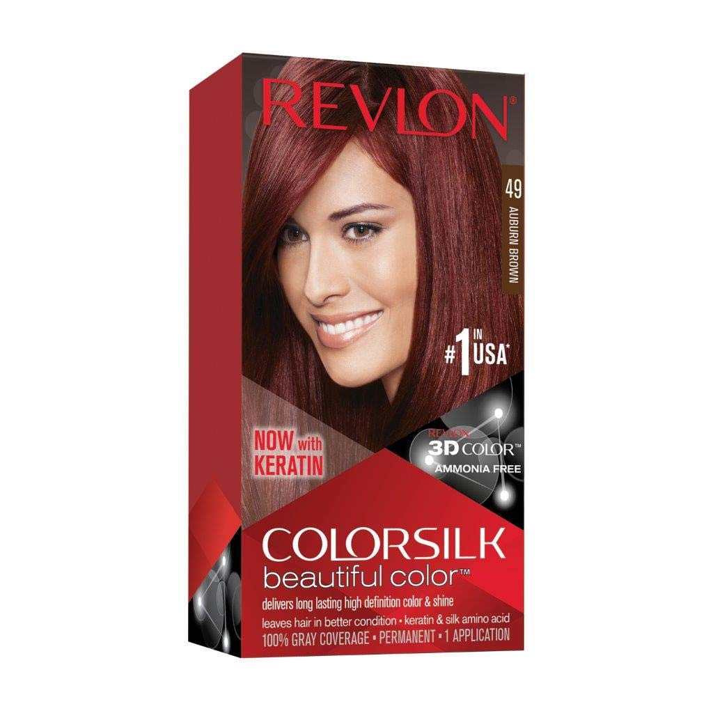 Revlon Colorsilk Beautiful Color, Permanent Hair Dye with Keratin, 100% Gray Coverage, Ammonia Free, 49 Auburn Brown