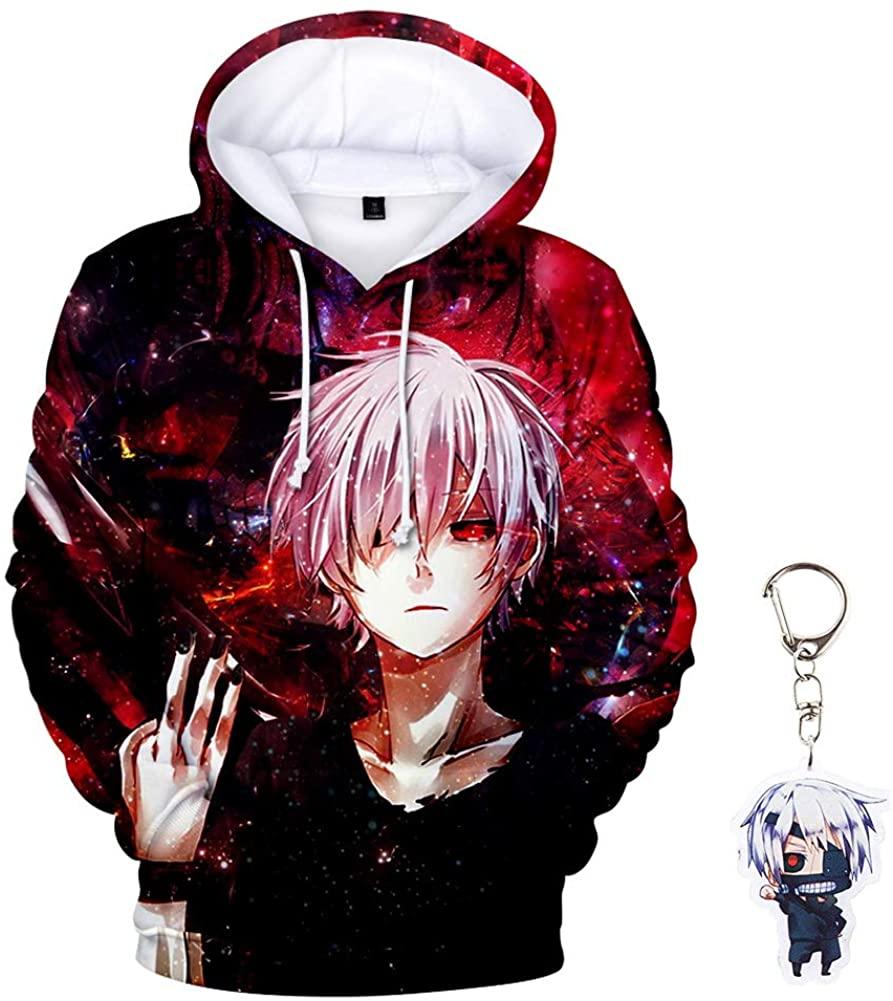 Forlove365 Unisex Anime Tokyo Ghoul 3D Print Pullover Hoodie Sweatshirt with Tokyo Ghoul Keychain