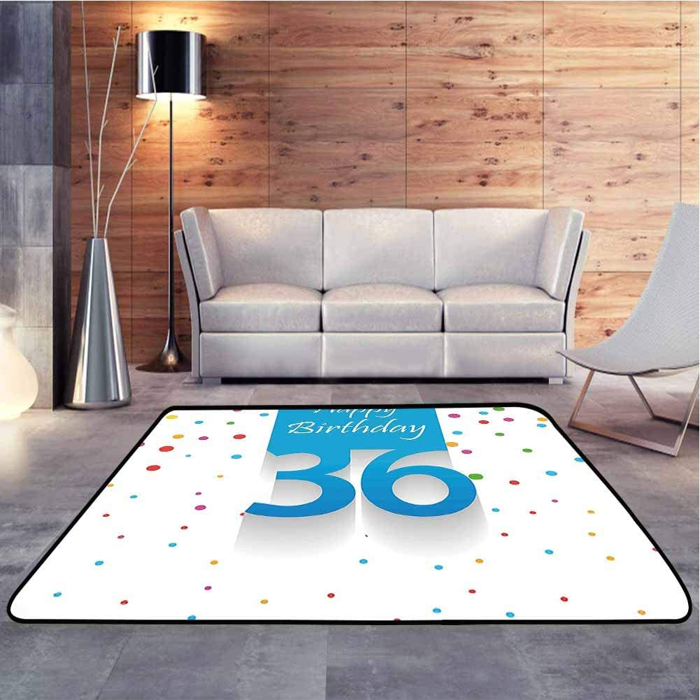 Colorful Area Rug Happy Birthday Quote on Blue Backdrop with Colorful Polka Dots Bedroom Entrance Hallway Carpet for Bedroom Floor Sofa Living Room, 6.5 x 10 Feet