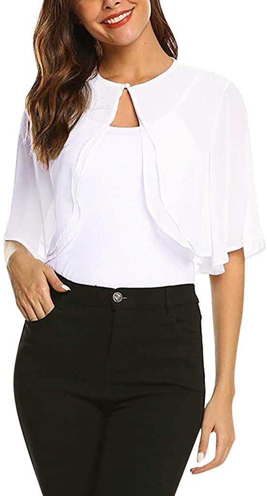 HDGTSA Women's Chiffon Cardigan Short Sleeve Blouse Sheer Open Front Top