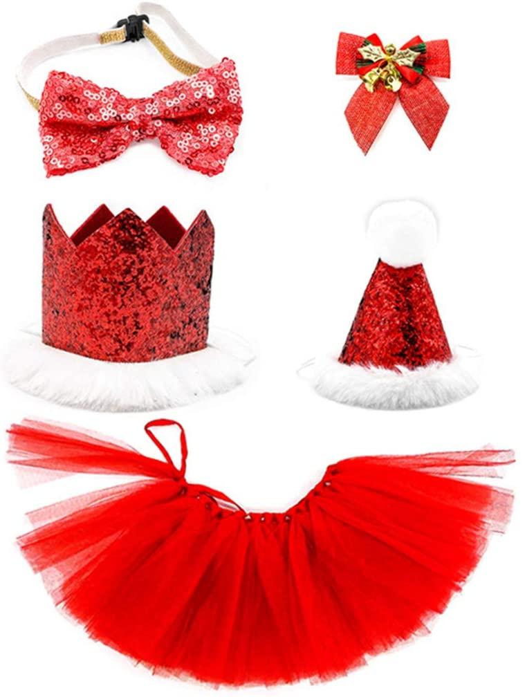 minansostey 5Pcs Christmas Dog Hat Bowtie Short Skirt Headwear Set Puppy Party Xmas Costume