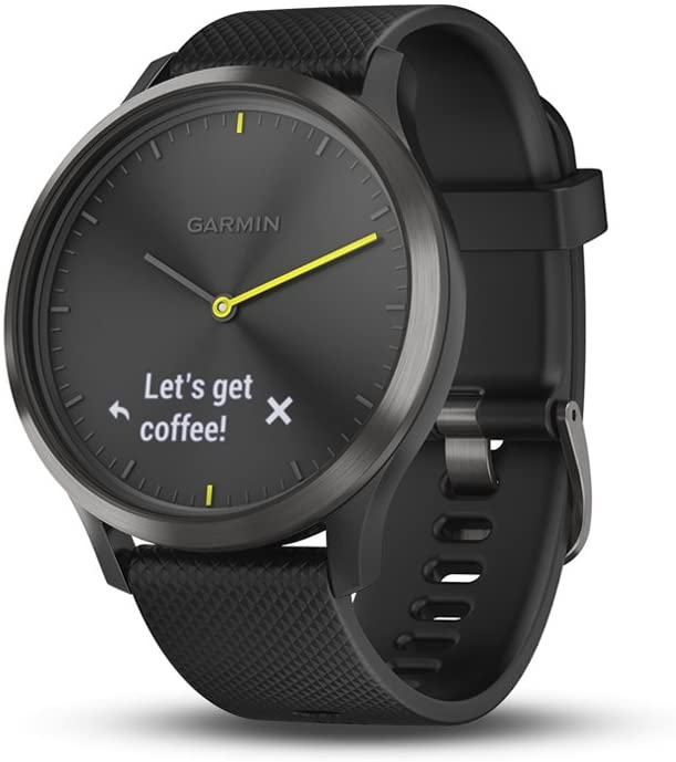 Garmin vIvomove HR, Hybrid Smartwatch for Men and Women, Black with Black Silicone Band, Large