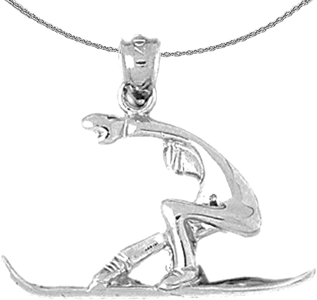 Jewels Obsession Gold Snow Boarder Necklace | 14K White Gold Snow Boarder Pendant with 18 Necklace