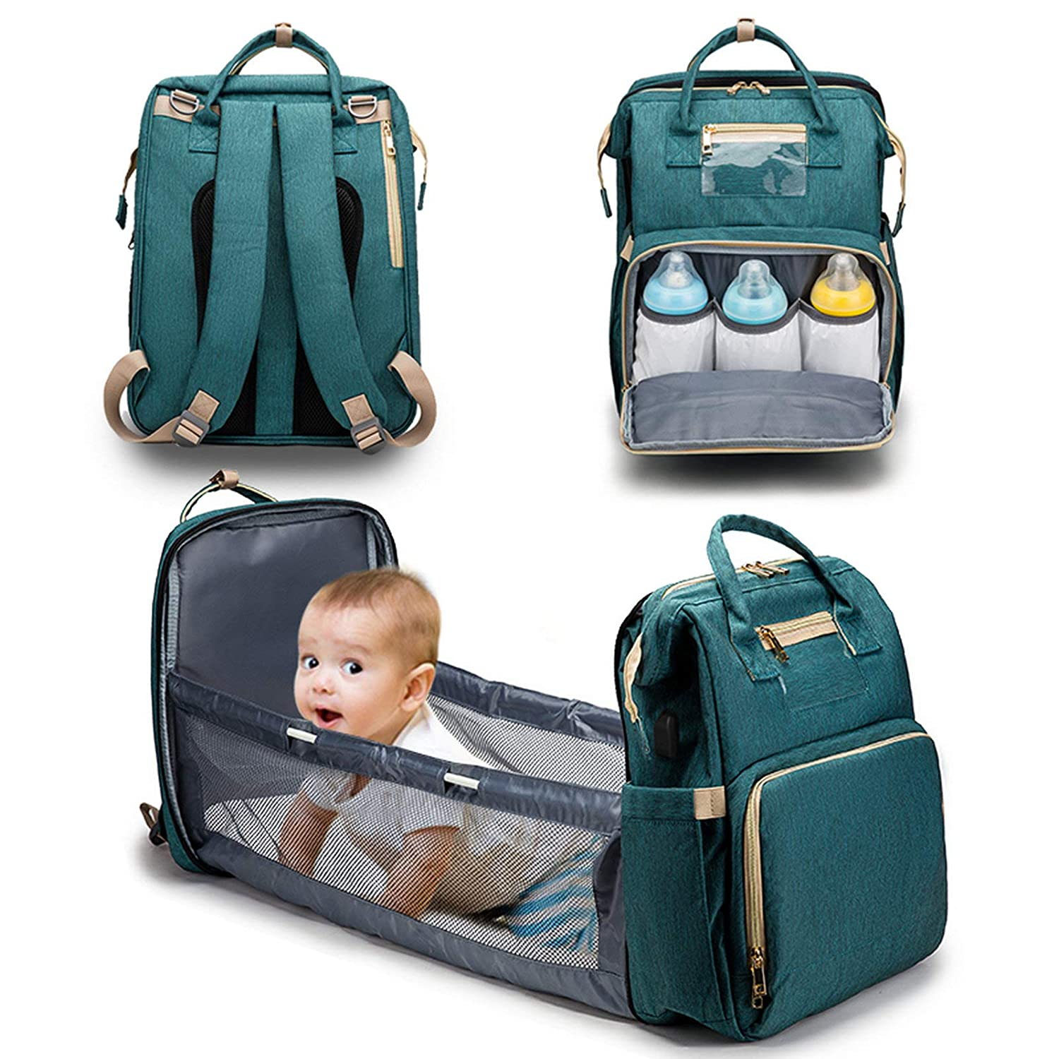 Innovation Diaper Bag&Bassinet, Portable Changing Station, Good Storage for Travel, Light and Practical, Insulated Bottle Sections, A Gift to a New Mom/Daddy