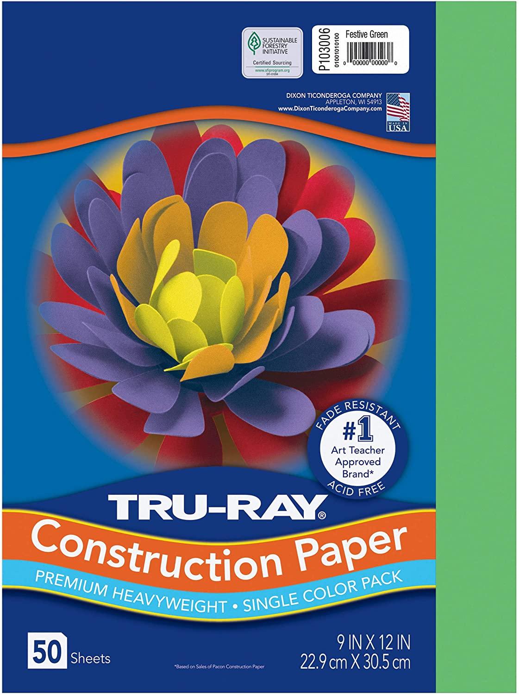 PACON Tru-Ray Heavyweight Construction Paper, Festive Green, 9