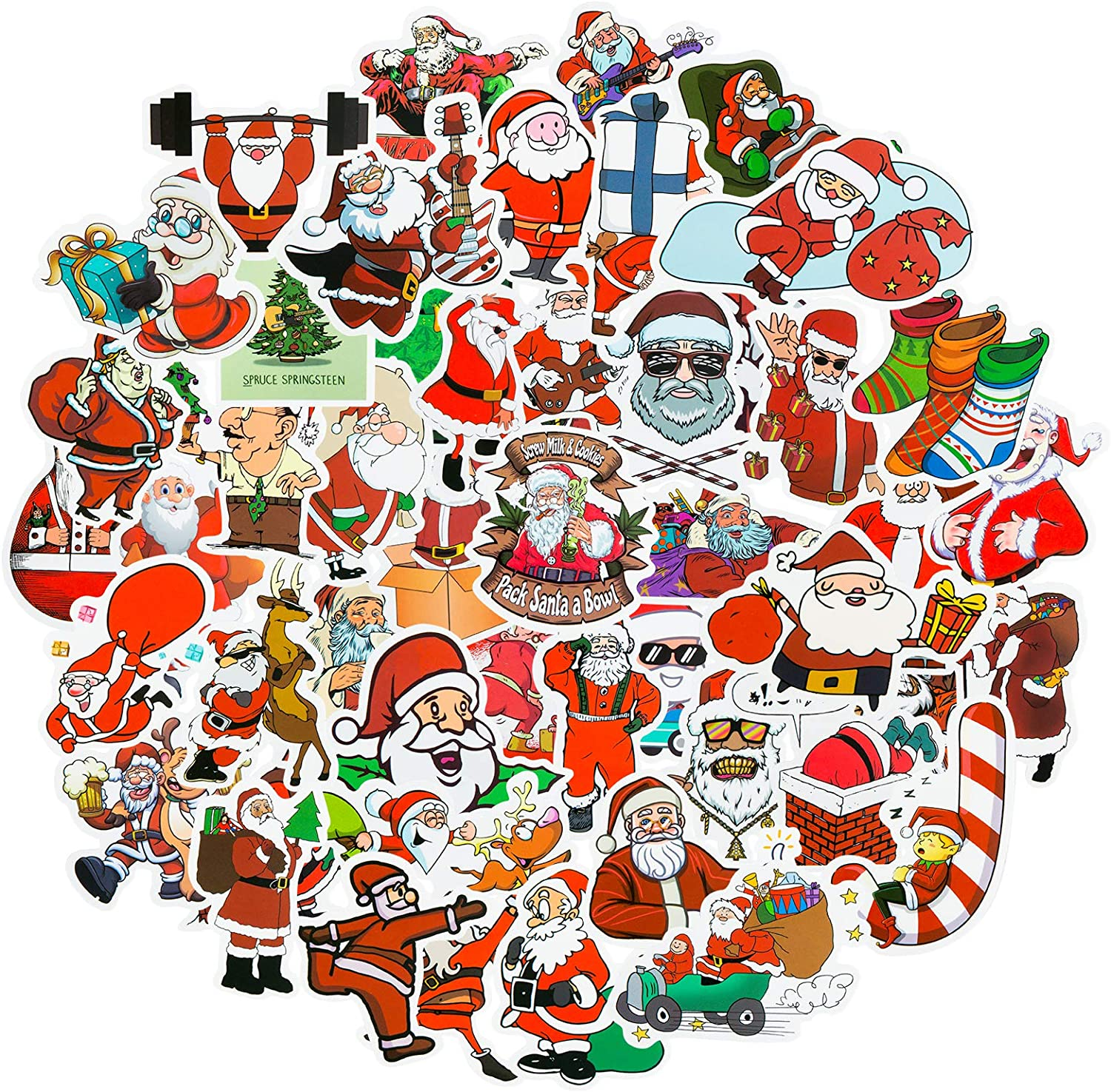 DRAGTIGER Christmas Stickers 50 Pcs with Waterproof Vinyl Stickers for Kids Gift Christmas Decorations Party Supplies.