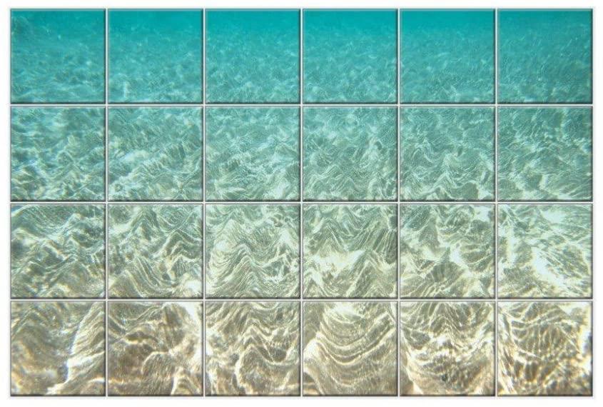 NISH! Beach Collection | Bathroom Wall Tiles | Decorative Wall Tiles (Ceramic Tiles - Gloss Finish, 6ft x 4ft, Set of Twenty Four 1ft x 1ft Tiles) for Home, Bath Room, Wash Room