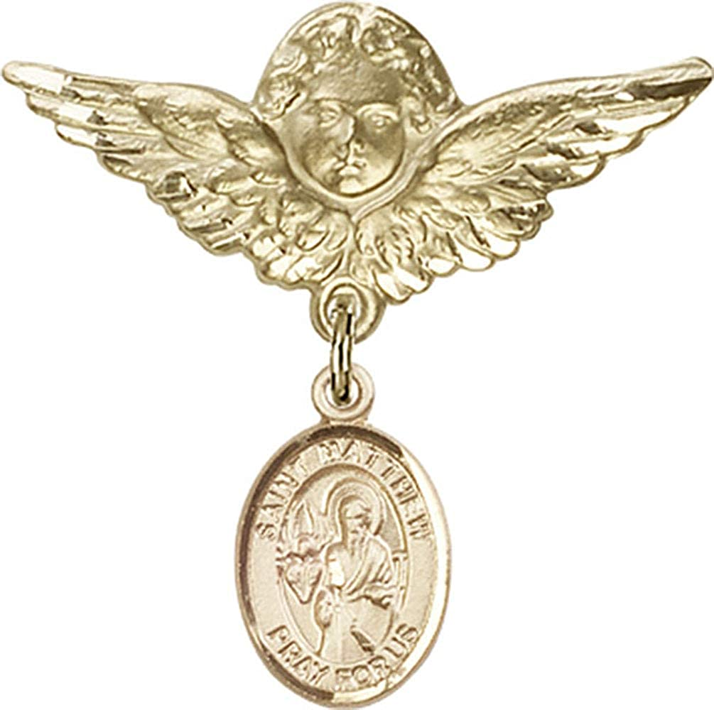 Jewels Obsession Baby Badge with St. Matthew the Apostle Charm and Angel with Wings Badge Pin | 14K Gold Baby Badge with St. Matthew the Apostle Charm and Angel with Wings Badge Pin - Made In USA
