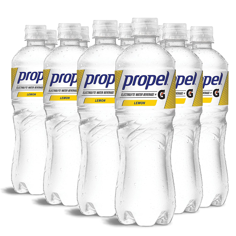 Propel, Lemon, Zero Calorie Water Beverage with Electrolytes & Vitamins C&E, 24 Fl Oz (Pack of 12)