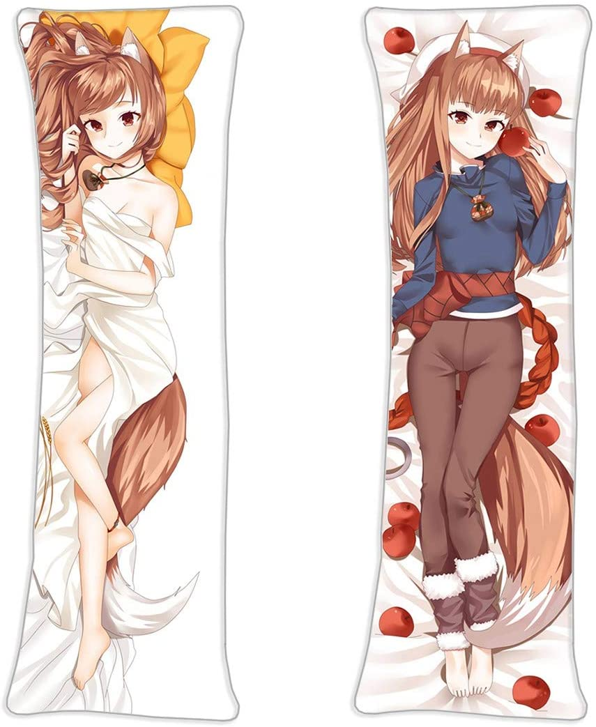 NiyoKE Holo Horo - Spice & Wolf Okami to Koshinryo Anime Sexy Girl Maid Costume Shame Posture Double-Sided Pattern Long Hugging Body Japanese Textile & Smooth Knit Pillowcase (59in x 19.6in)