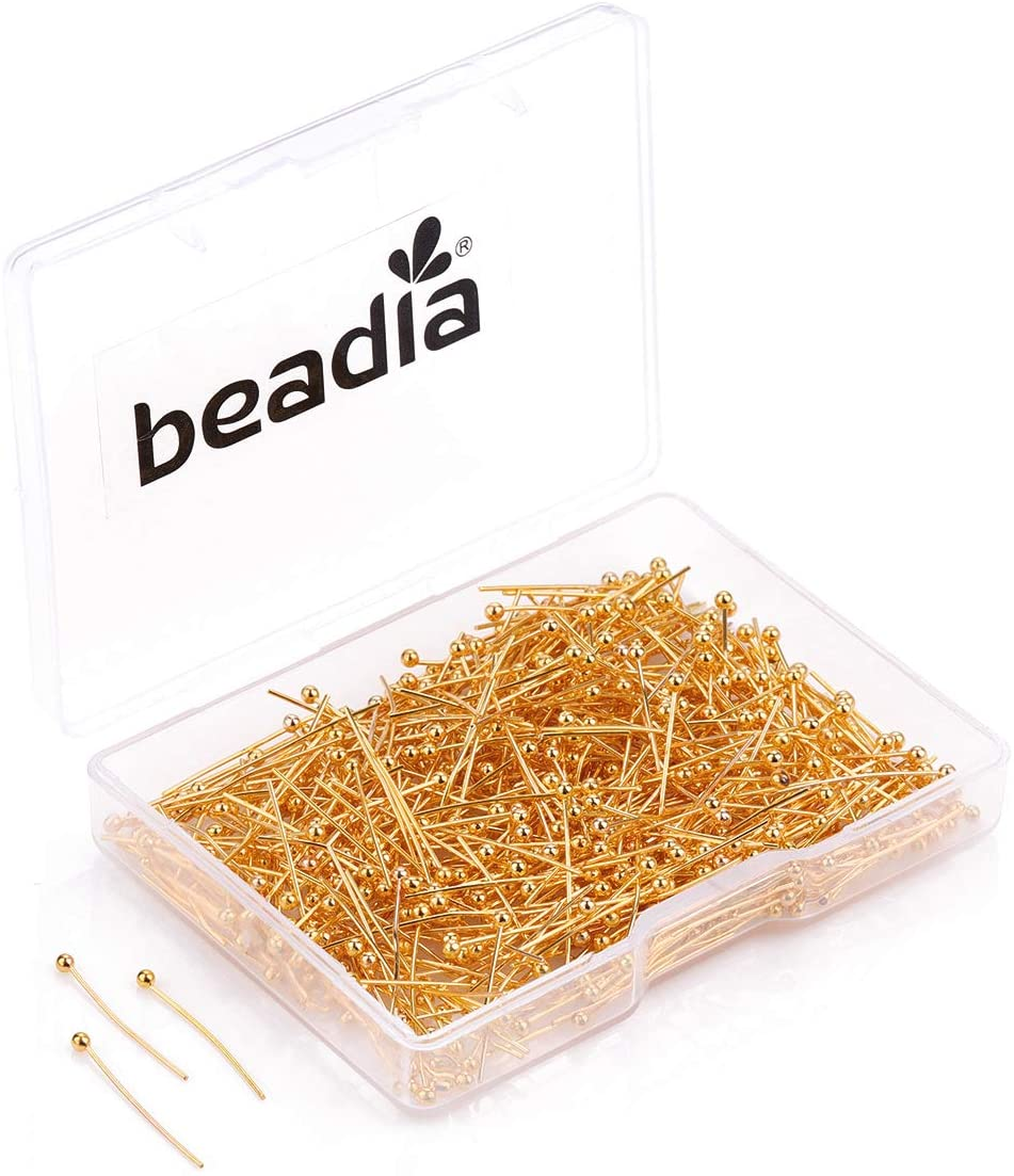 BEADIA Ball Head pins Gold for DIY Jewelry Making 20mm 600pcs