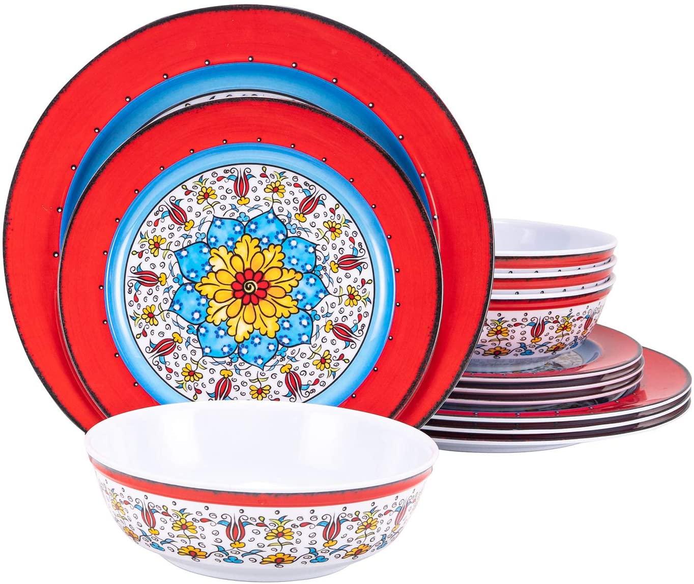 Melamine Dinnerware Set 12 Pcs Floral Red Plate Bowl Set Durable Dishware Dishwasher Safe Shatter Proof Chip Resistant Not Microware Not Oven