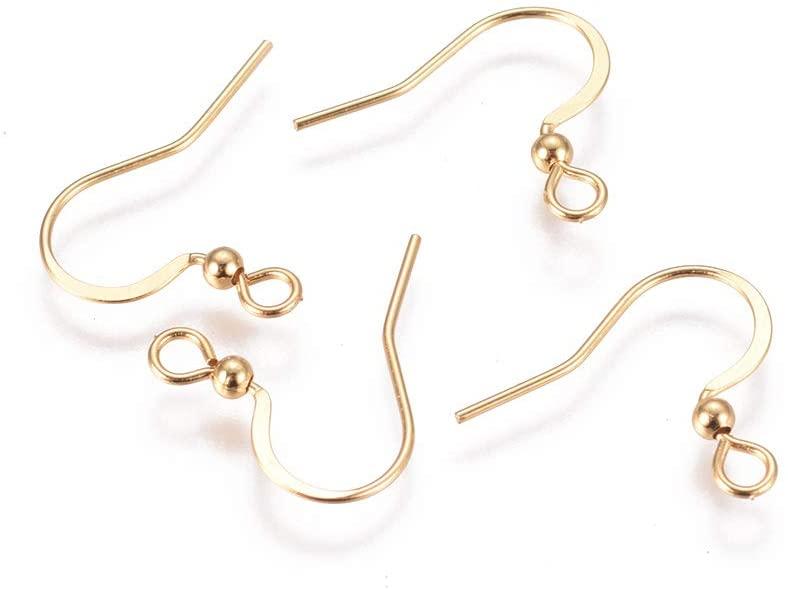UNICRAFTALE 20pcs 0.6mm Pin Stainless Steel Earring Hooks Golden Ear Wire with Loop Earrings Hooks for Women Earrings Jewelry Making 16x20x2.5mm, Hole 2mm