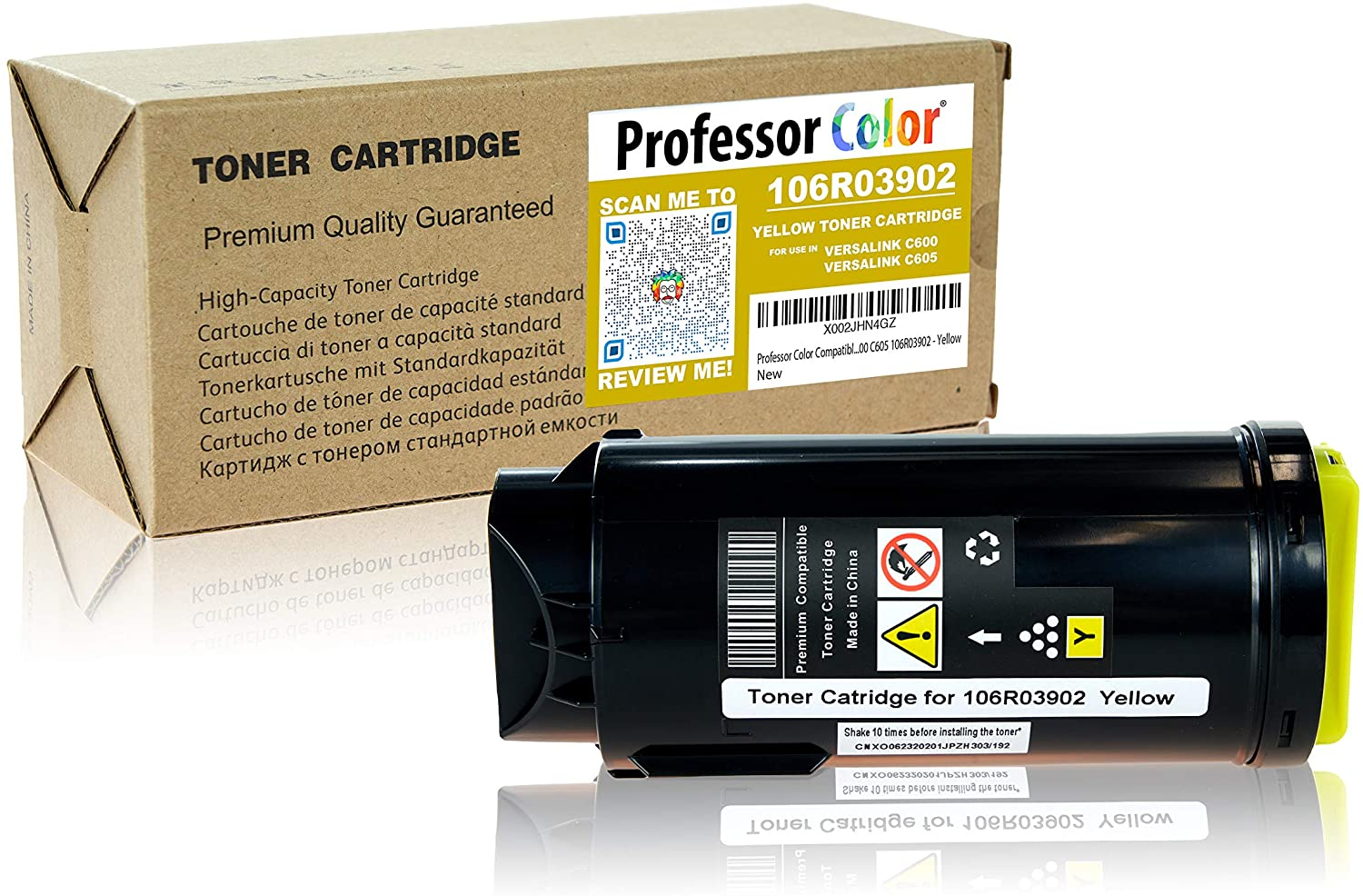Professor Color Compatible Toner Cartridge Replacement for Xerox VersaLink C600 C605 106R03902 - Yellow