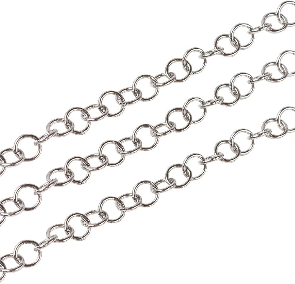 UNICRAFTABLE About 10m/roll 304 Stainless Steel Chains Unwelded with Spool Necklaces Silver Tones Rolo Chains for DIY Jewelry Making 5x0.8mm