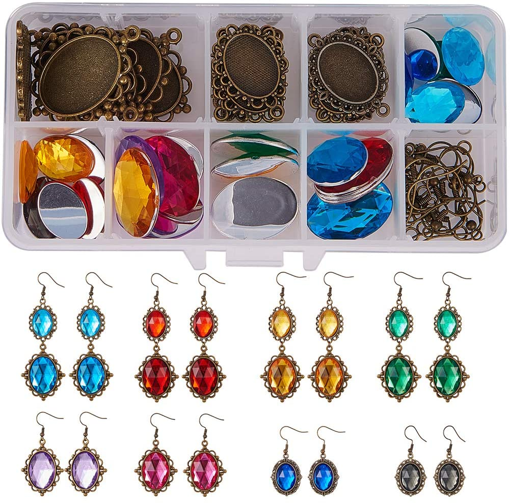 SUNNYCLUE 1 Box 24pcs Dangle Tray Earring Settings with 25x18mm 13x18mm Oval Acrylic Rhinestone Cabochon Domes Earring Hooks Jump Rings for DIY Jewelry Making Nickel Free Antique Bronze, Instruction