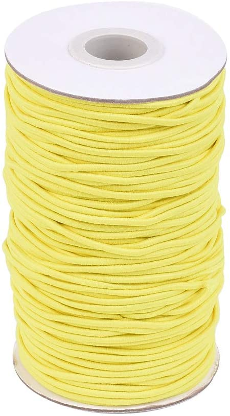 PH PandaHall 75Yards Elastic Cord, 2mm Stretch Round String Beading Cord Braided Elastic Cord for DIY Jewelry Making Sewing and Crafting, Yellow