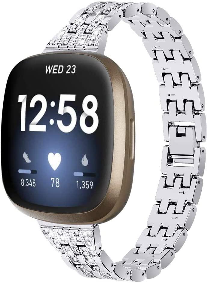 E ECSEM Bling Watch Strap Compatible with Fitbit Sense Band Versa 3 Bands, Dressy Metal Bracelet Jewelry Replacement Wristband for Versa 3 Sense Smartwatch