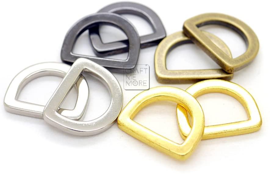 CRAFTMEmore Antique Brass D Rings Purse Loop Flat Metal D-Ring Heavy Duty Findings fit 5/8 Inch Strap Webbing 10 pcs