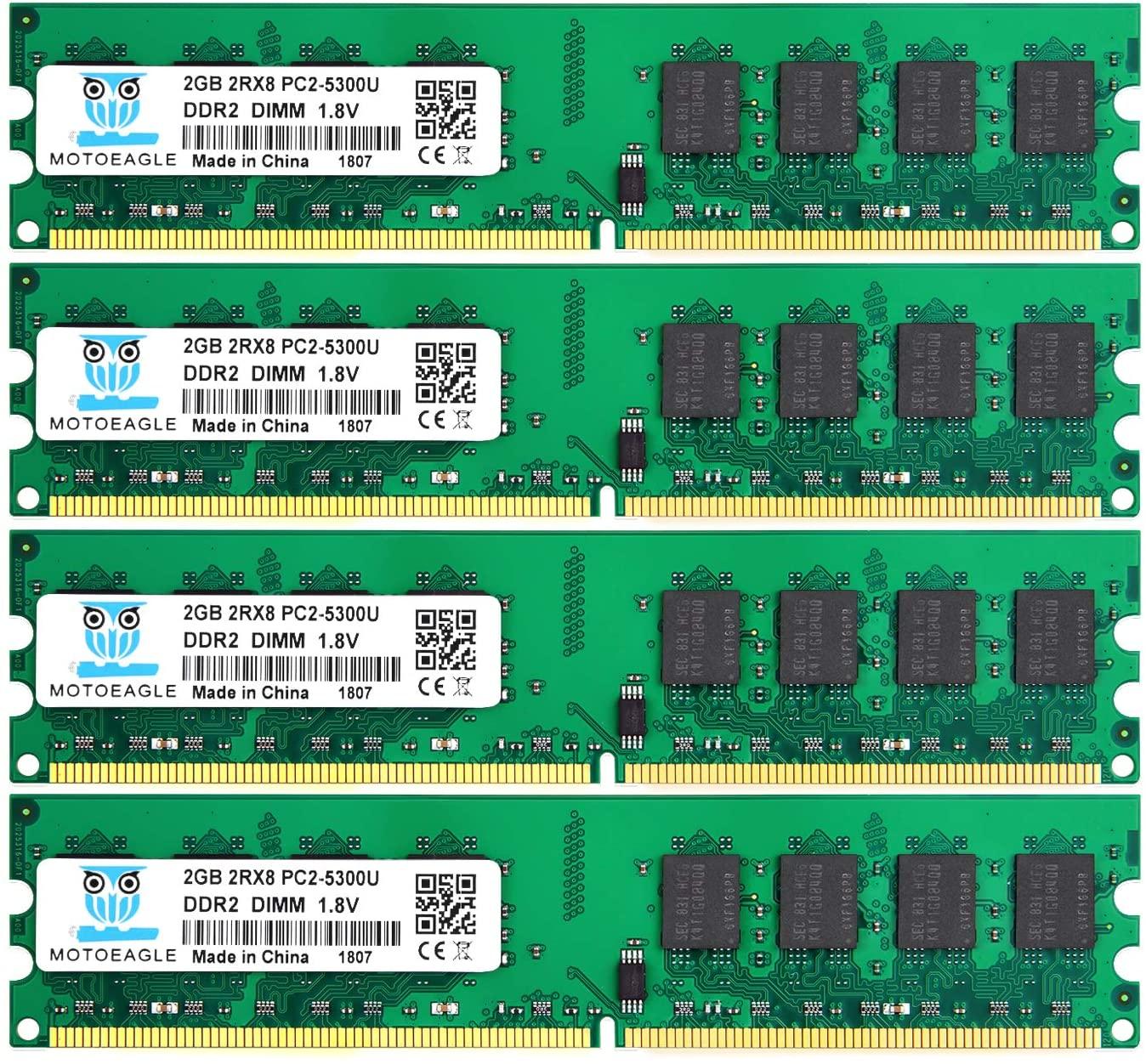 DDR2 PC2 5300 667 MHz Udimm RAM, Motoeagle 8GB Kit (2GBX4) PC2 5300U 1.8V Unbuffered Desktop Memory Modules