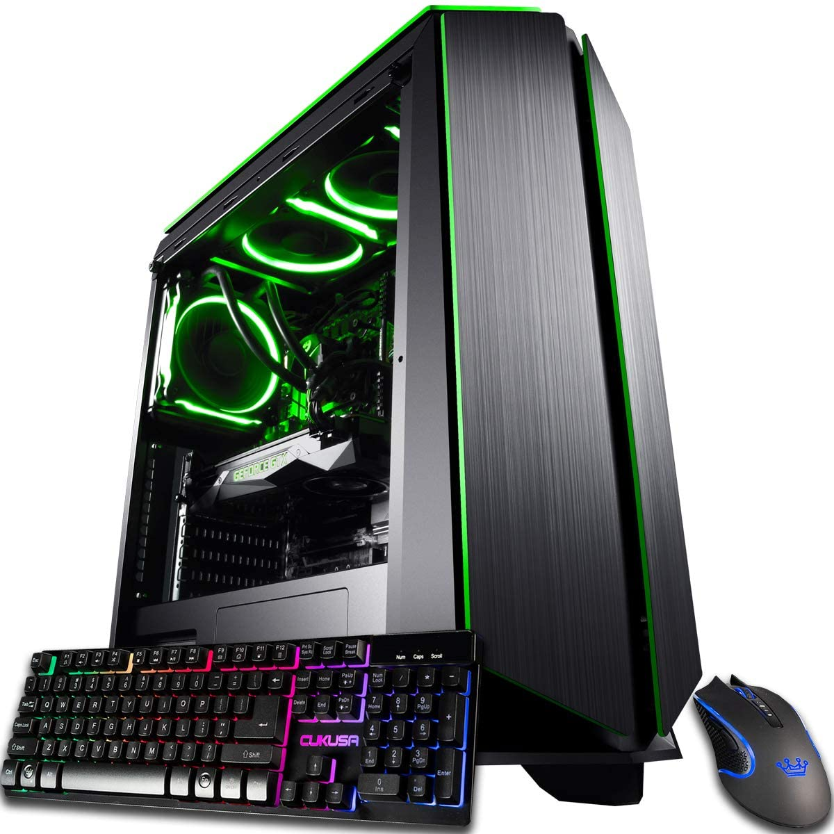 CUK Mantis Gaming PC (Liquid Cooled AMD Ryzen 9 3950X, NVIDIA GeForce RTX 2080 Ti 11GB, 64GB RAM, 1TB NVMe SSD + 2TB, 750W Gold PSU, Windows 10 Home) Best Tower Desktop Computer for Gamers