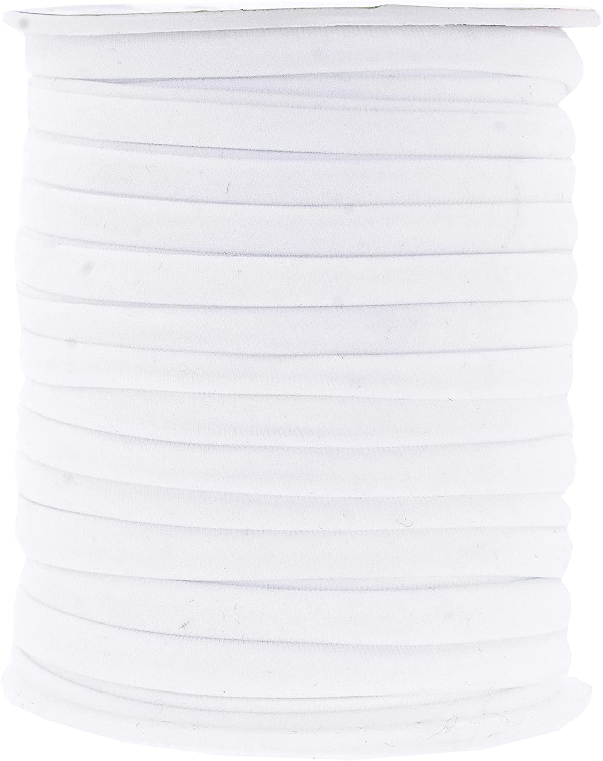 Mandala Crafts Soft Elastic Cord from Spandex Nylon Fabric for Jewelry Making, Sewing, and Crafting (White)