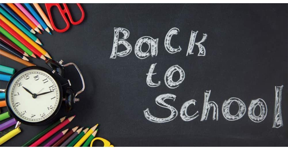 Baocicco 20x10ft Back to School Backdrop Blackboard Colorful Pencils Alarm Clock White Chalk Drawing Words School Season New Term New Semester School Opening Day Children Students PhotoCall