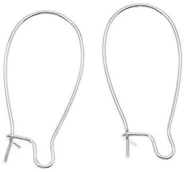 200pcs Hypoallergenic Earring Hooks Kidney Ear Wires Earwire 25mm Long Sterling Silver Plated Brass for Earrings Making CF189