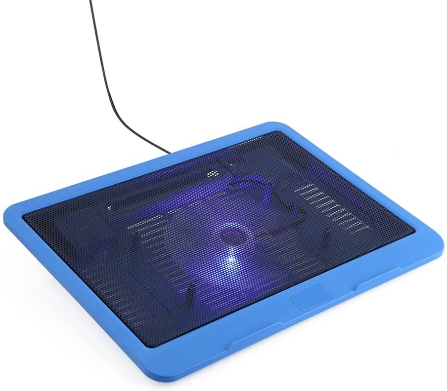 Rehomy Laptop Cooling Pad, Quiet USB Notebook Cooler Pad Base with a Big Fan and LED Lights, Fits for up to 14inch Laptop Notebook