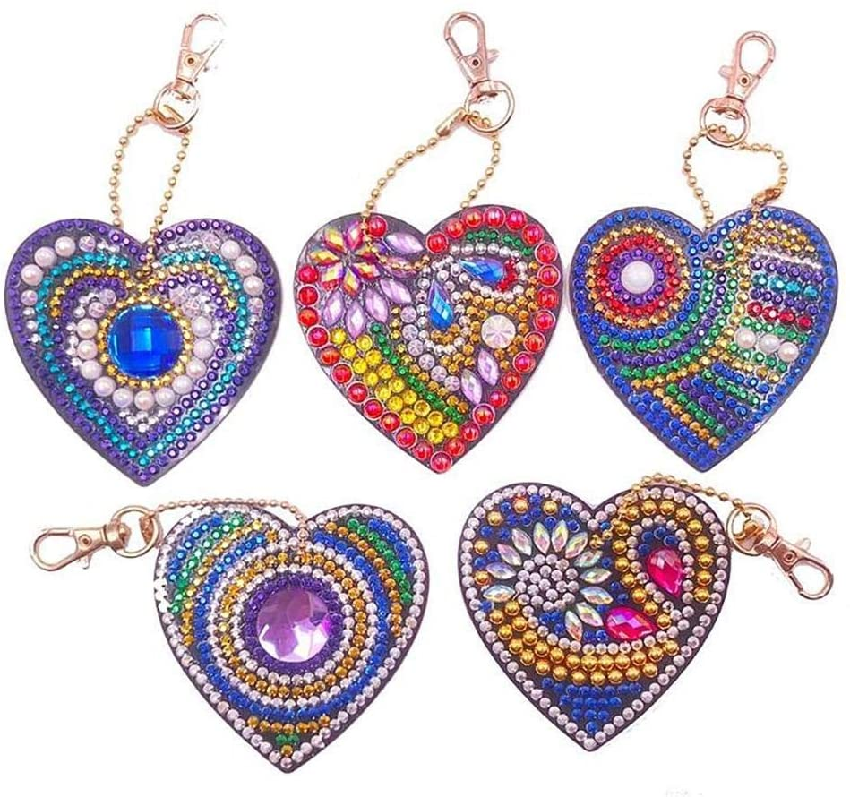 Uoeo DIY Diamond Painting Keychain Full Drill Double-Sided Stick Paint with Diamonds by Numbers Key Chain Pendant Kits for Art Craft Bag Decor, Phone Straps, Key Ring