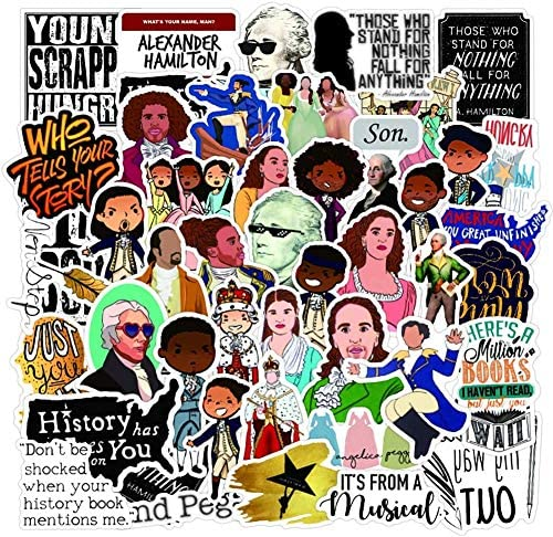 Hamilton Musical Stickers, 50PCS Waterproof Vinyl Stickers Stylish Laptop Stickers Artistic Water Bottle Stickers Luggage Bicycle Computer Skateboard Stickers for Teens Decal (Hamilton)