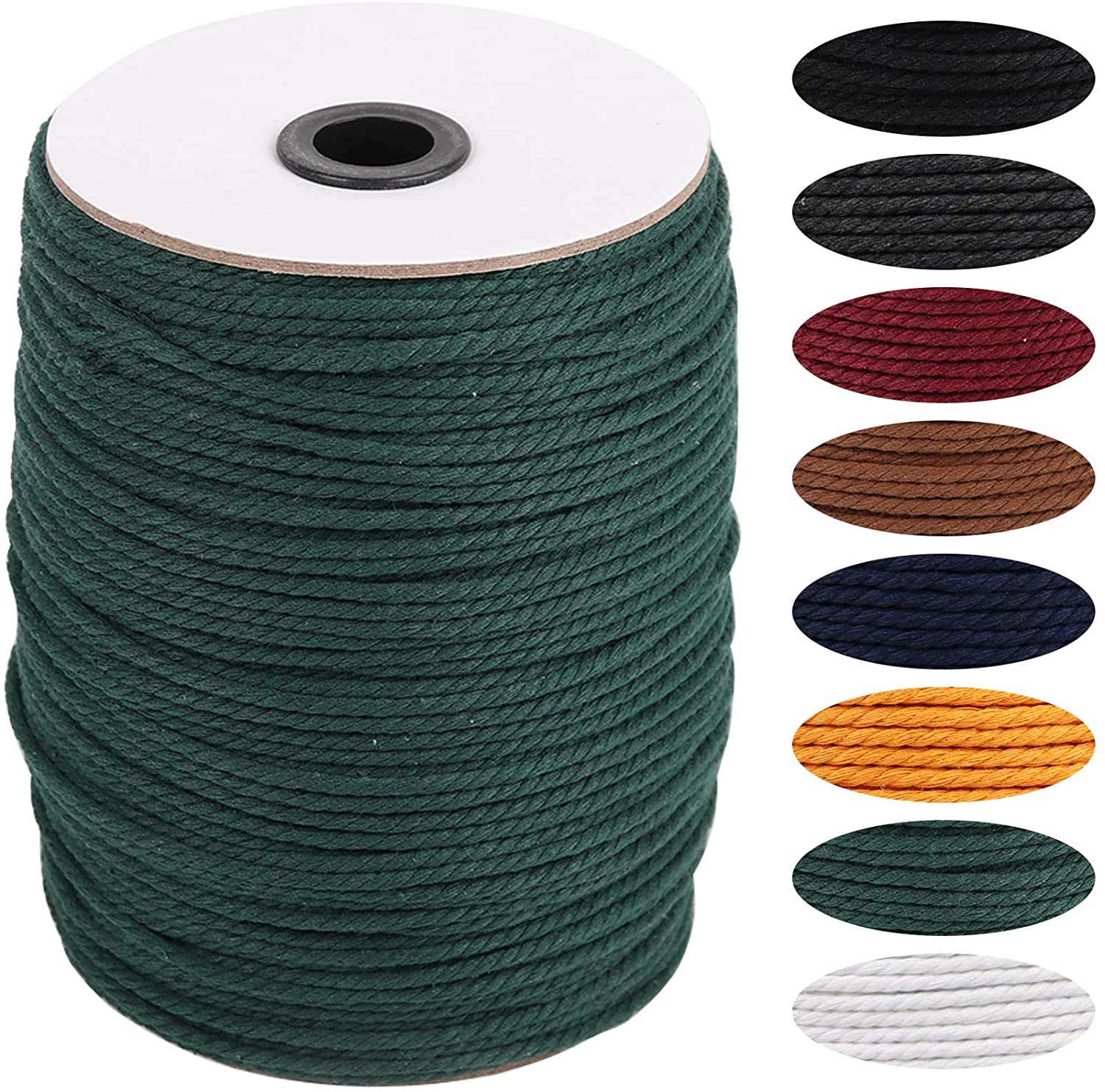 Deep Green Macrame Cord 3mm x 270yards, Colored Macrame Rope, 3 Strand Twisted Cotton Rope Macrame Yarn, Colorful Cotton Craft Cord for Wall Hanging, Plant Hangers, Crafts
