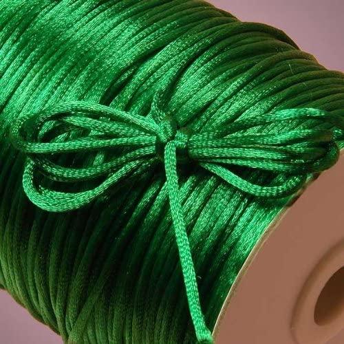 BJM Collection 2mm X 100 Yard Rattail Satin Nylon Trim Cord Chinese Knot (Emerald)