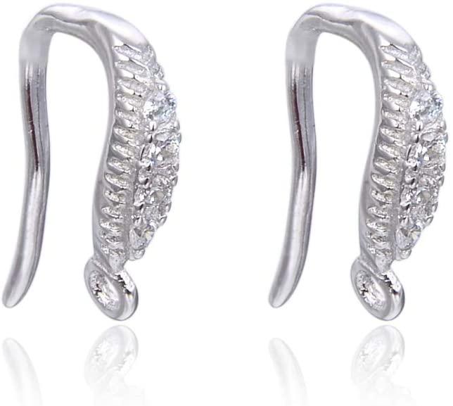 20pcs Sterling Silver Earring Hooks Dangle 4 Created Diamonds Ear Wire Earwire Connectors for Earrings Jewelry Making SS486