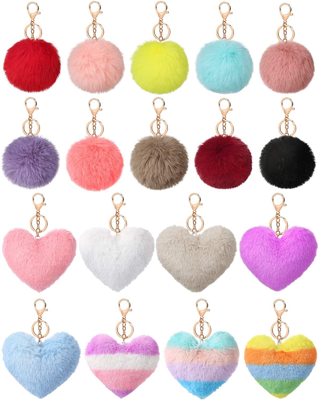 Aboofx 18 Pieces Pom Poms Keychains Fluffy Fur Ball Pompoms Keyring Faux Rabbit Fur Pompoms includes Heart Shape and Round Shape