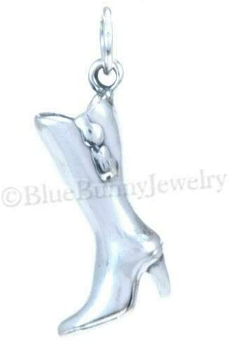 3D HIGH Heel Boot Fashion Winter Fall Shoe Charm Pendant 925 Sterling Silver DIY Crafting by Wholesale Charms