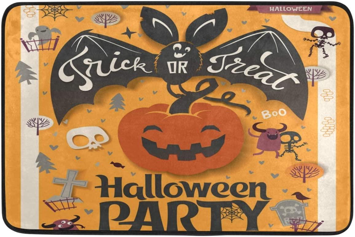 Wamika Happy Hallowen Doormat Non Slip Washable Bat Pumpkin Skull Witch Castle Indoor Outdoor Entrance Bathroom Floor Mats Festival Party Home Decor, 23.6 x 15.7 inch