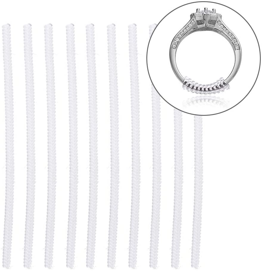 Ring Size Adjuster, 10Pcs Transparent Ring Size Adjuster Guard Tightener Reducer Jewelry Resizing Tool(3.5mm)