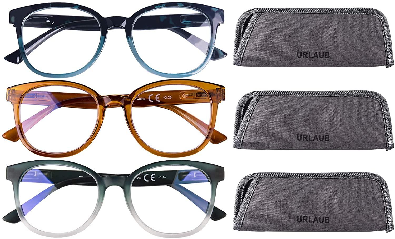3 Pack Blue Light Blocking Reading Glasses, Anti Glare Computer Readers for Women Men, Ladies Magnification Eyeglasses