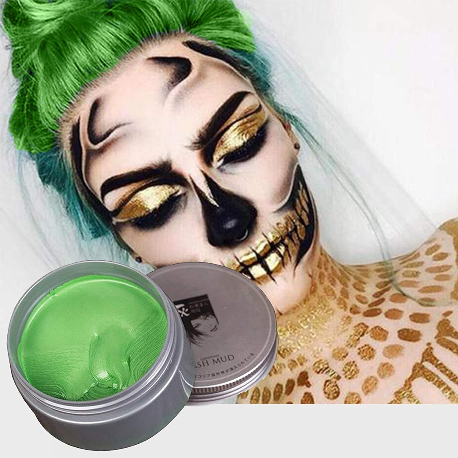 Hair color Wax Dye Styling Cream Mud,Temporary Fashion Colorful Hair Wax Pomades,Disposable Natural Hair Max for Men Women Party Cosplay, Halloween (green)