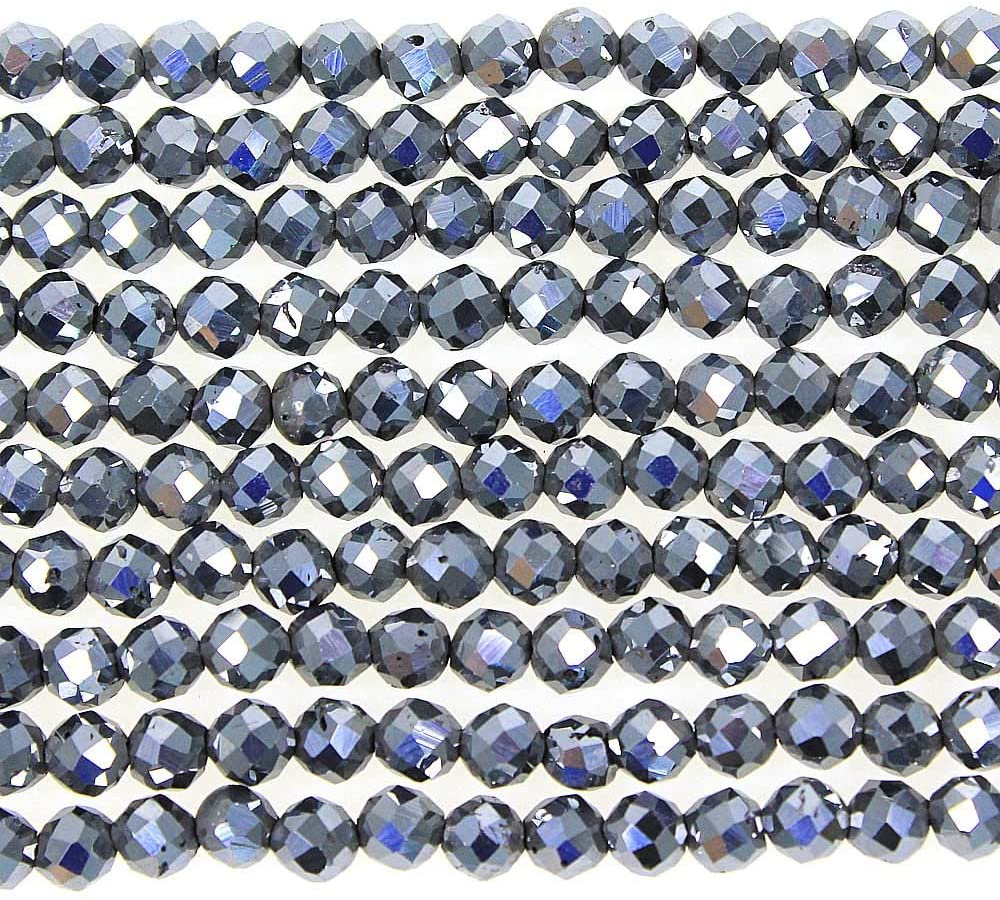 MJDCB 3mm Faceted Natural Terahertz Round Loose Beads for Jewelry Making DIY Bracelet Necklace