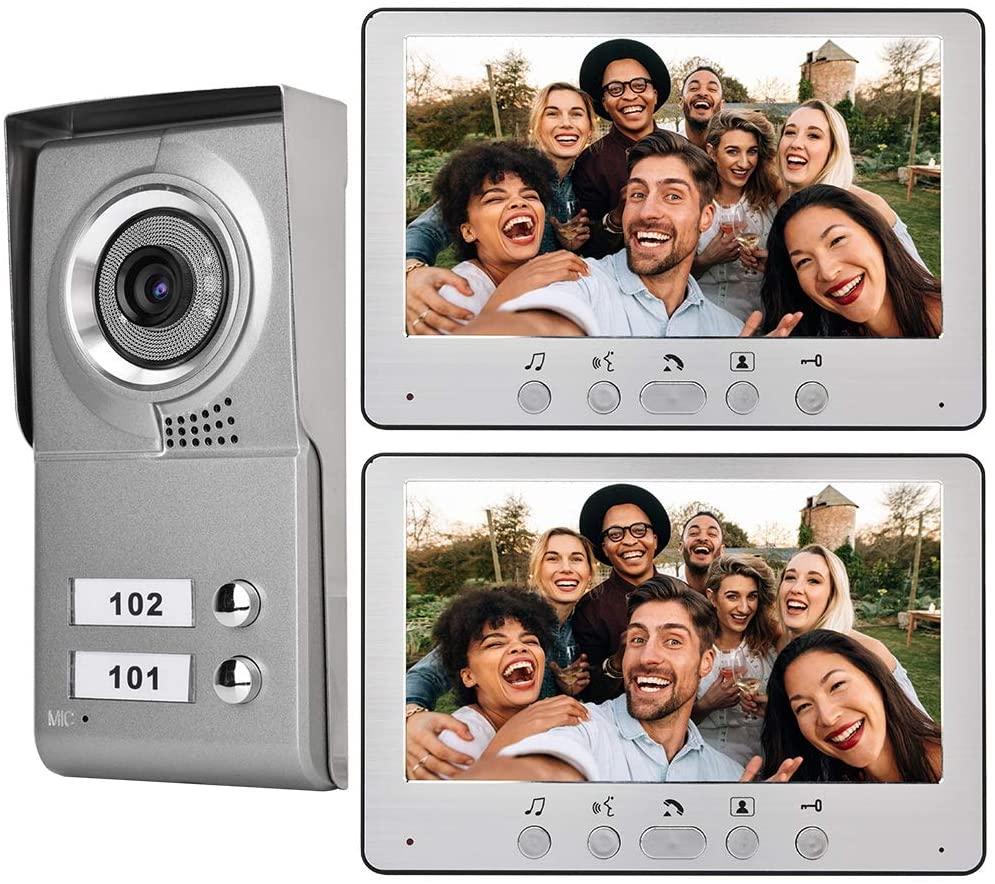 Simlug Intercom Camera,Video Door Phone Intercom Doorbell, Wired Video Door Phone Audio Visual Entry Intercom System Wall-Mounted 7inch Apartment 2 Units for Villa House Office(Silver)
