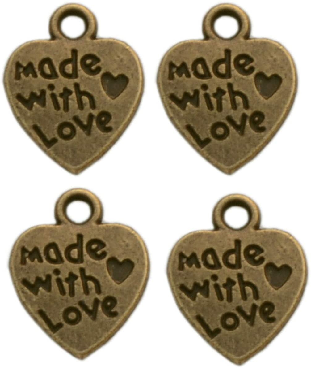 Yansanido Alloy Pack of 100 Heart Shape Bronze Made with Love Charms Pendants for Making Bracelet and Necklace (Made with Love 100pcs Bronze)