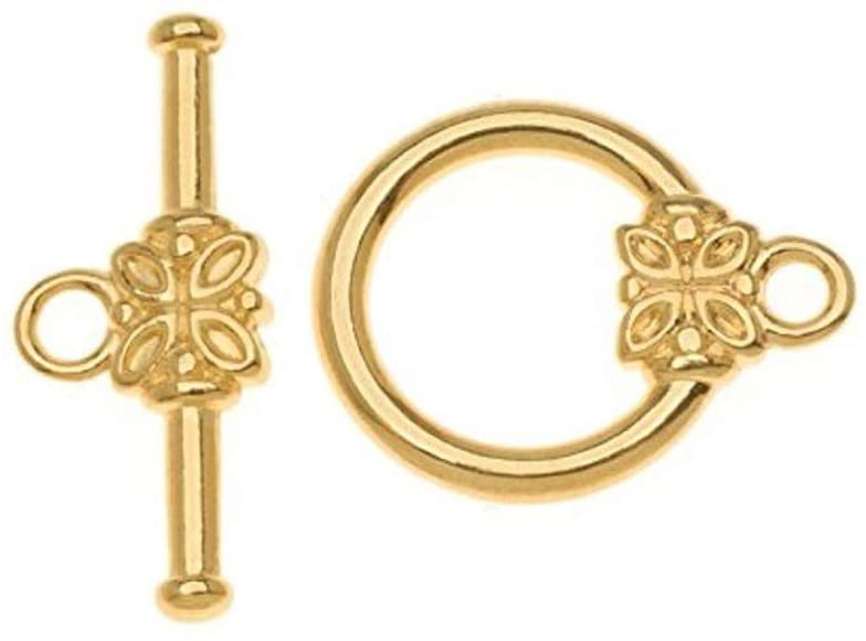 10 sets Gold Plated 925 Sterling Silver Flower Toggle Clasps 12mm Clasp Connector for Jewelry Craft Making SS267-2