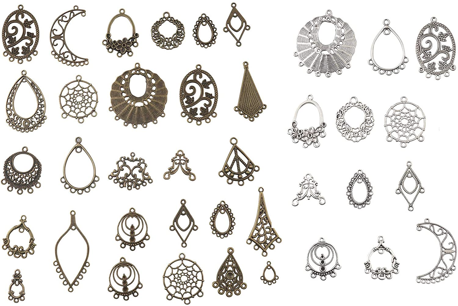 ALLinONE Tibetan Style Connector Earring Chandelier Earring Jewelry Making Kit for Earring Drop and Charm Pendant Assorted Pack (Antique Bronze & Silver 40pcs)