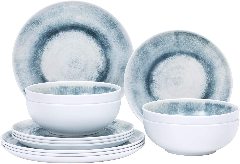 12-Piece Melamine Dinnerware Set - for Outdoor/Indoor Use, Shatterproof, Lightweight, BPA Free, Service for 4, Boho Gray Pattern
