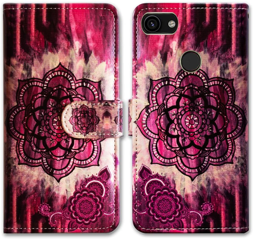 Google Pixel 3a Case,Bcov Retro Pink Mandala Leather Flip Cover Case Wallet with Money Credit Card Slot Holder Stand for Google Pixel 3a G020A G020E G020B