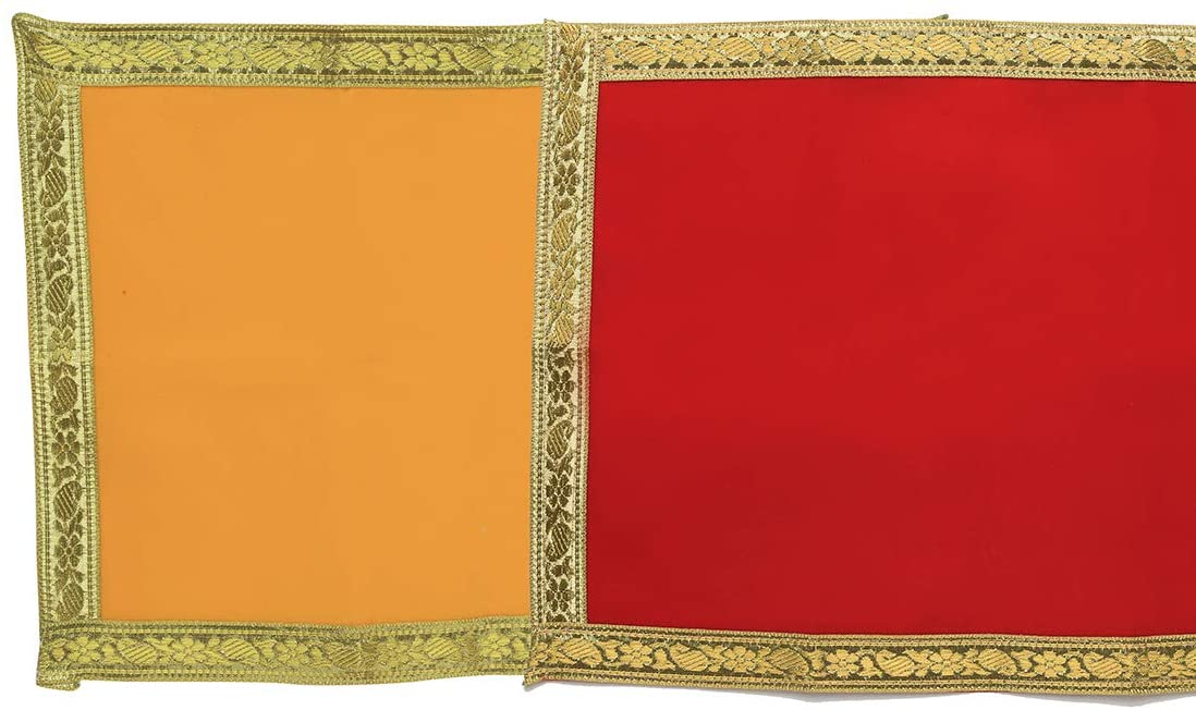 Red and Yellow Velvet Pooja Cloth Mat Aasan Decorative Cloth Set of 2 (Size:-11.5 Inches X 9.5 Inches,) for Multipurpose Pooja Decorations Item & Article